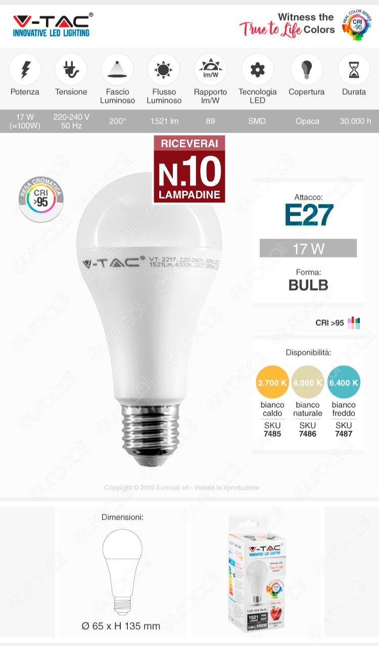 VT-2217 V-Tac Lampadina LED E27 17W Bullb A65 CRI ≥95