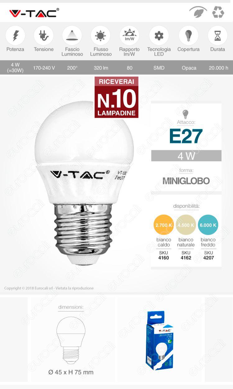 V-tac lampadina LED E27