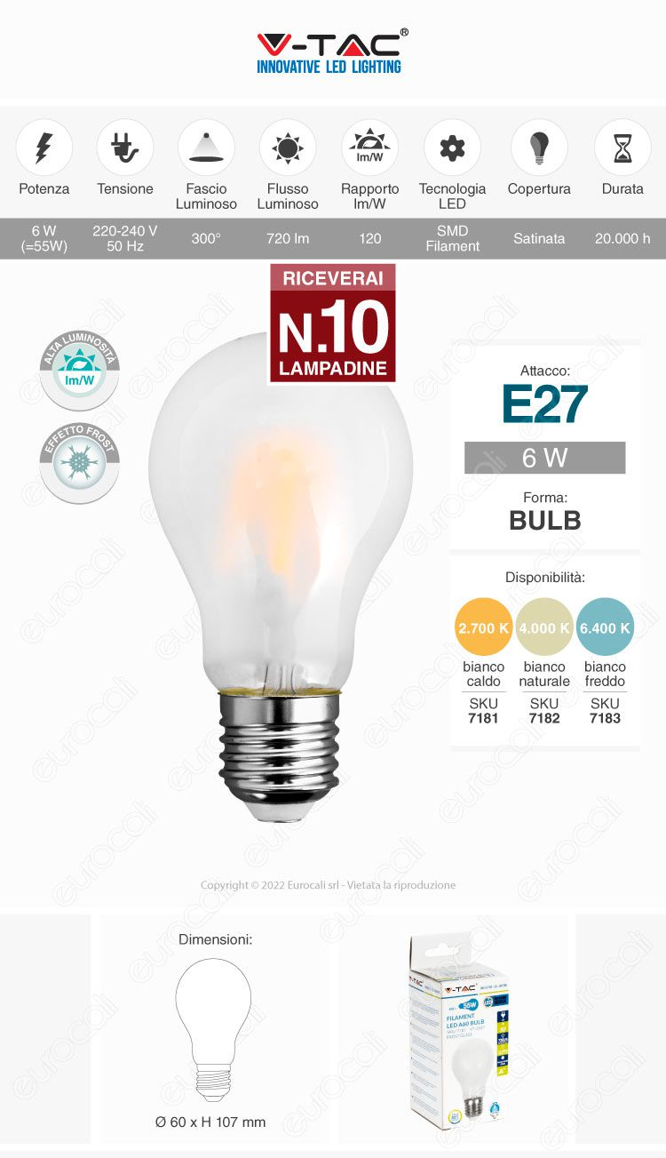 10 Lampadine LED V-Tac VT-2047 E27 7W Bulb A60 Frost Filamento - Pack Risparmio