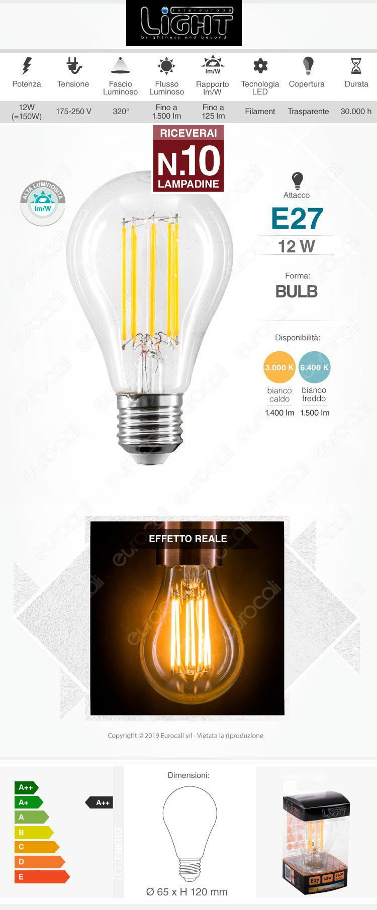 10 Lampadine LED Intereurope Light E27 12W Bulb A65 Filamento - Pack Risparmio