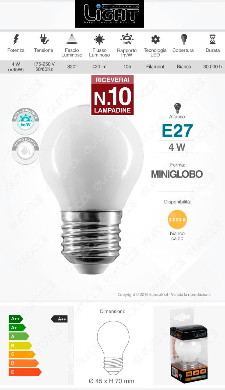 10 Lampadine LED Intereurope Light E27 4W MiniGlobo G45 Bianca Filamento