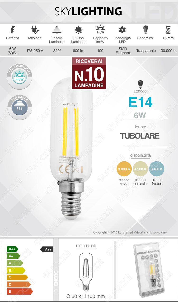 10 Lampadine LED SkyLighting E14 6W Tubolare a Filamento - Pack Risparmio