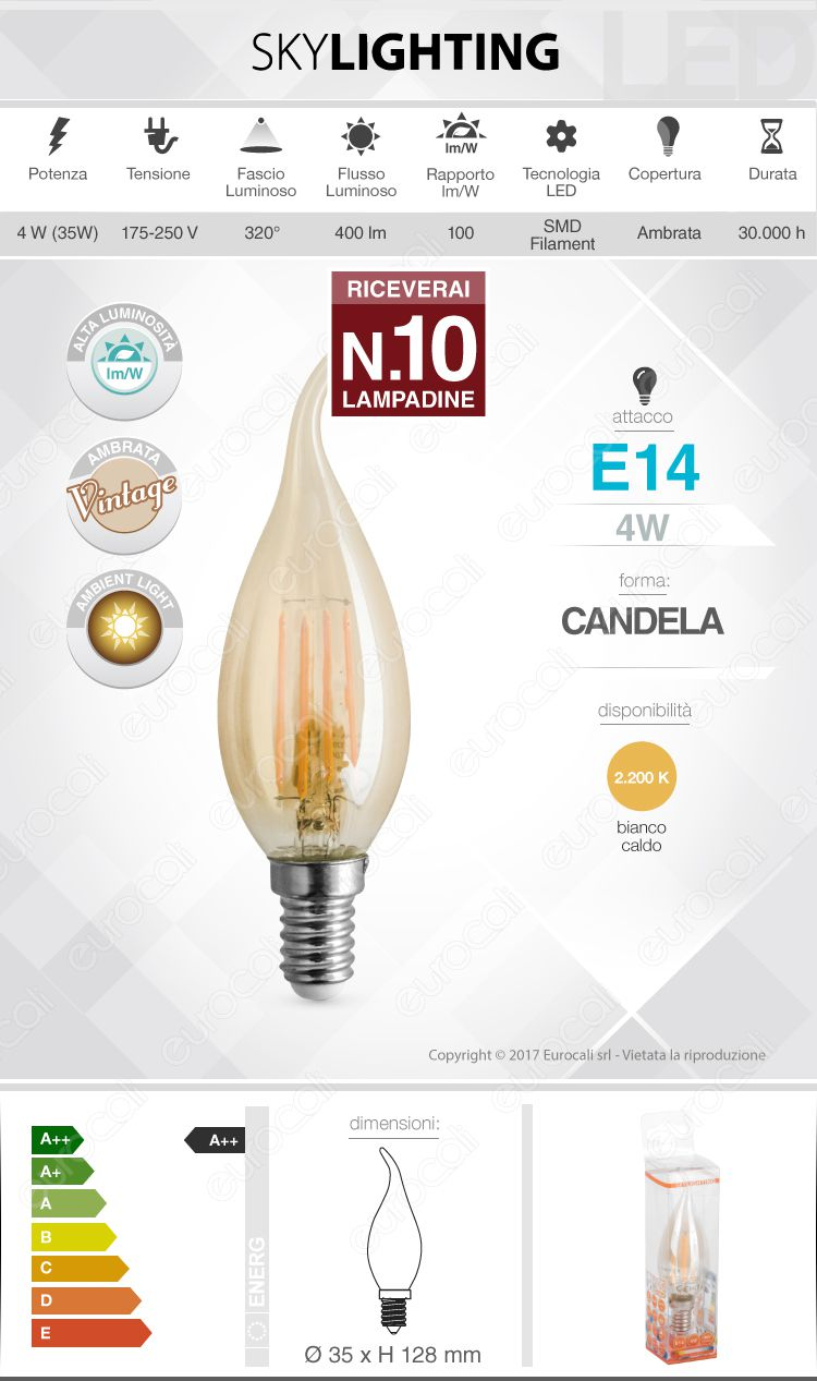 Lampadina LED filamento SkyLighting E14