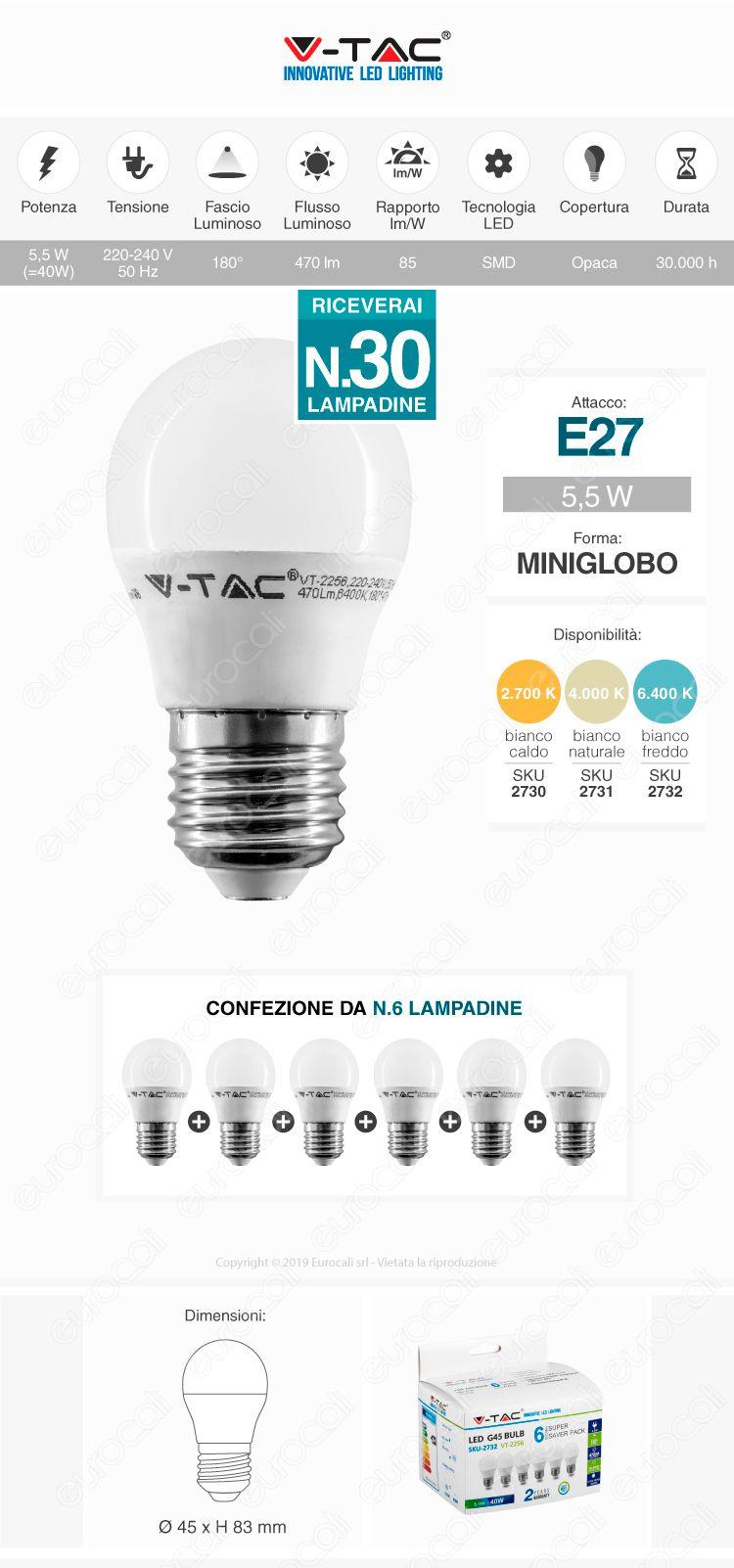 30x lampadina led v-tac e27
