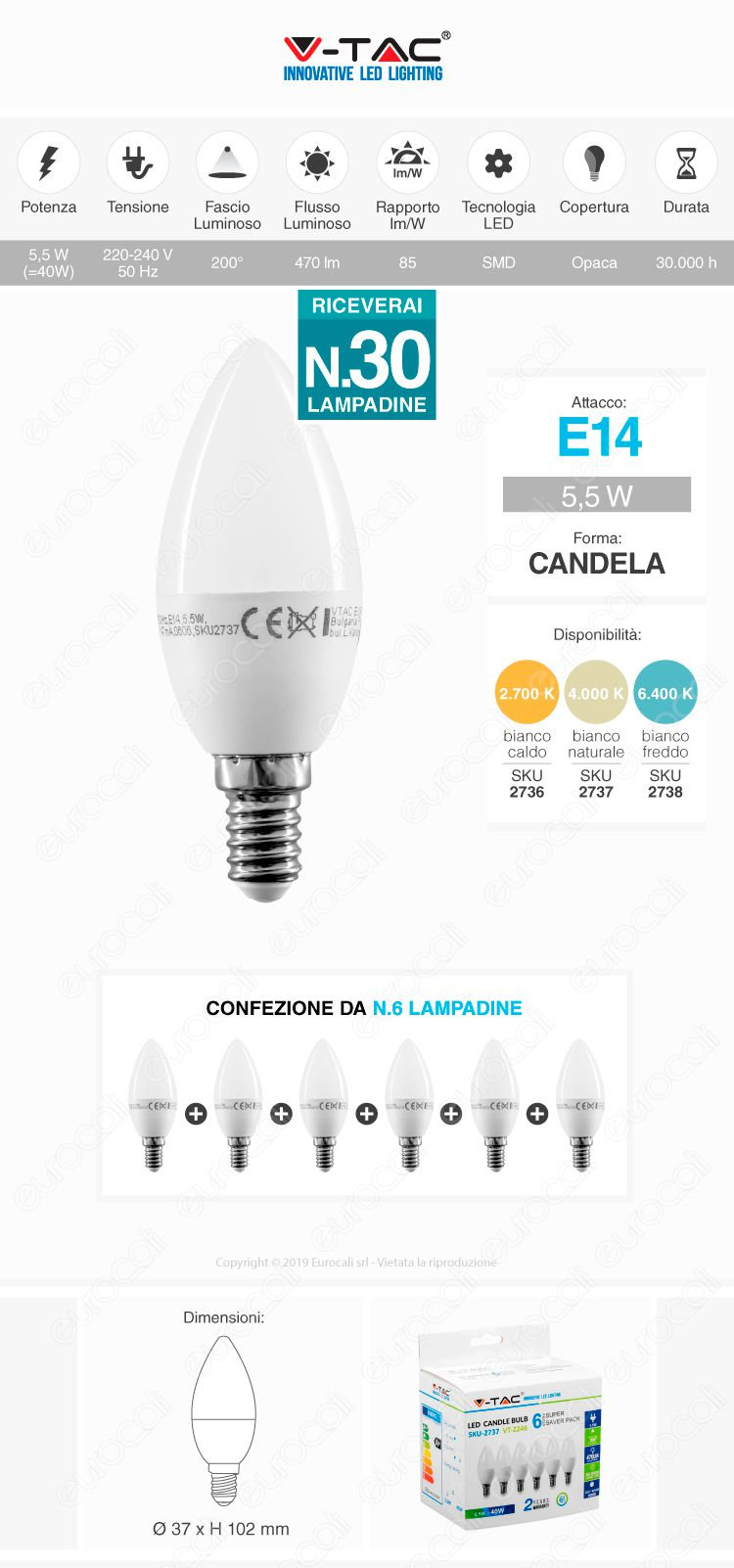 30x Lampadine LED E14 5,5W Candela