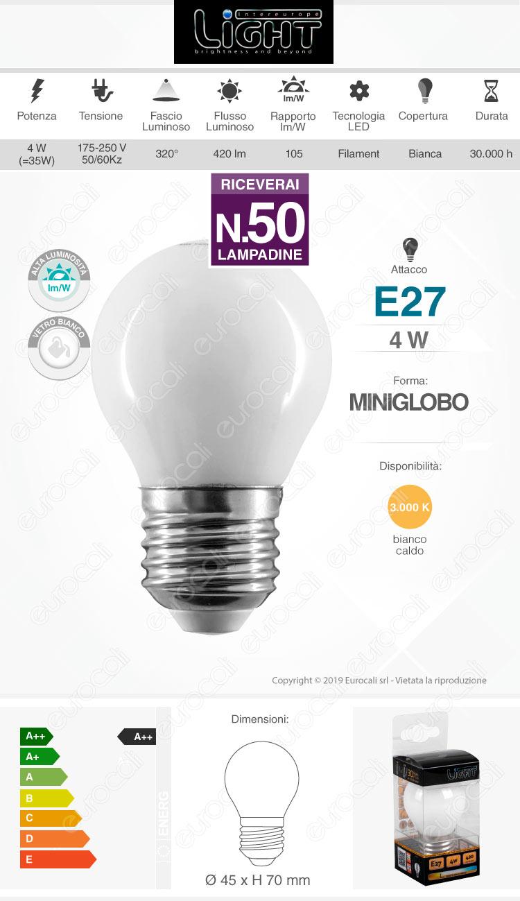 50 Lampadine LED Intereurope Light E27 4W MiniGlobo G45 Bianca Filamento