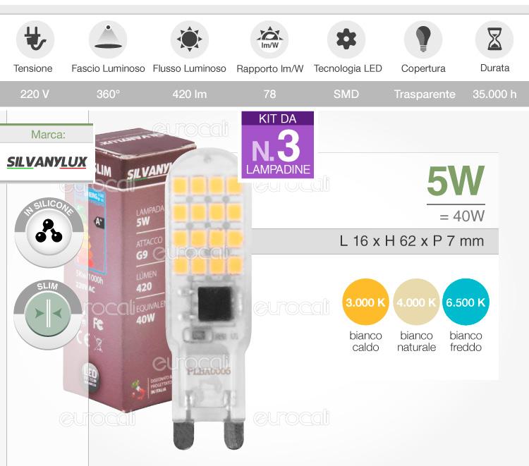 Lampadine led v tac attacco g9 da 2w a 12w lampada bulbo for Lampadine g9 led