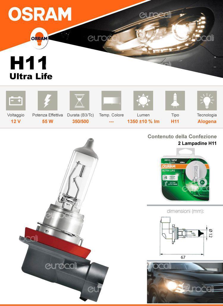 2 lampadine h11 led per auto osram ultra life. Black Bedroom Furniture Sets. Home Design Ideas