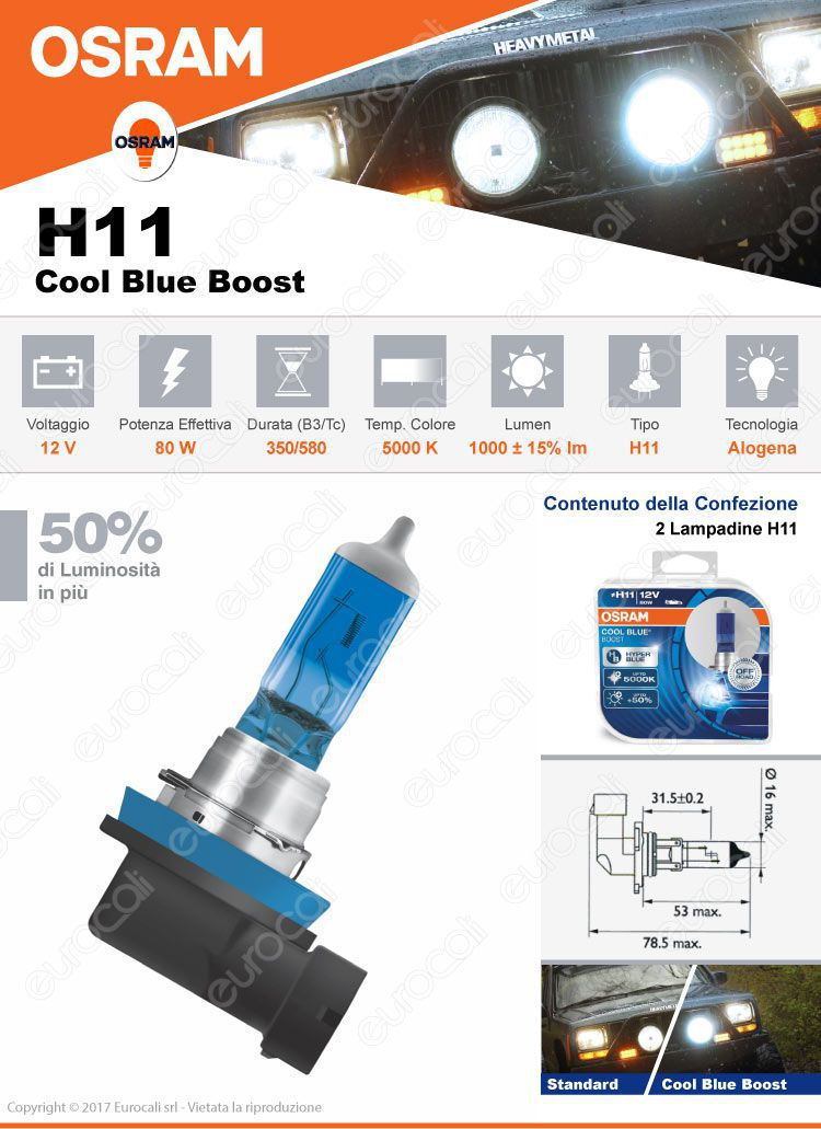 osram cool blue hyper effetto xenon hid 2 lampadine h11. Black Bedroom Furniture Sets. Home Design Ideas