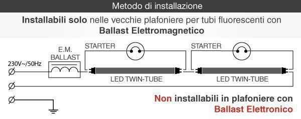 montaggio tubo t8 led