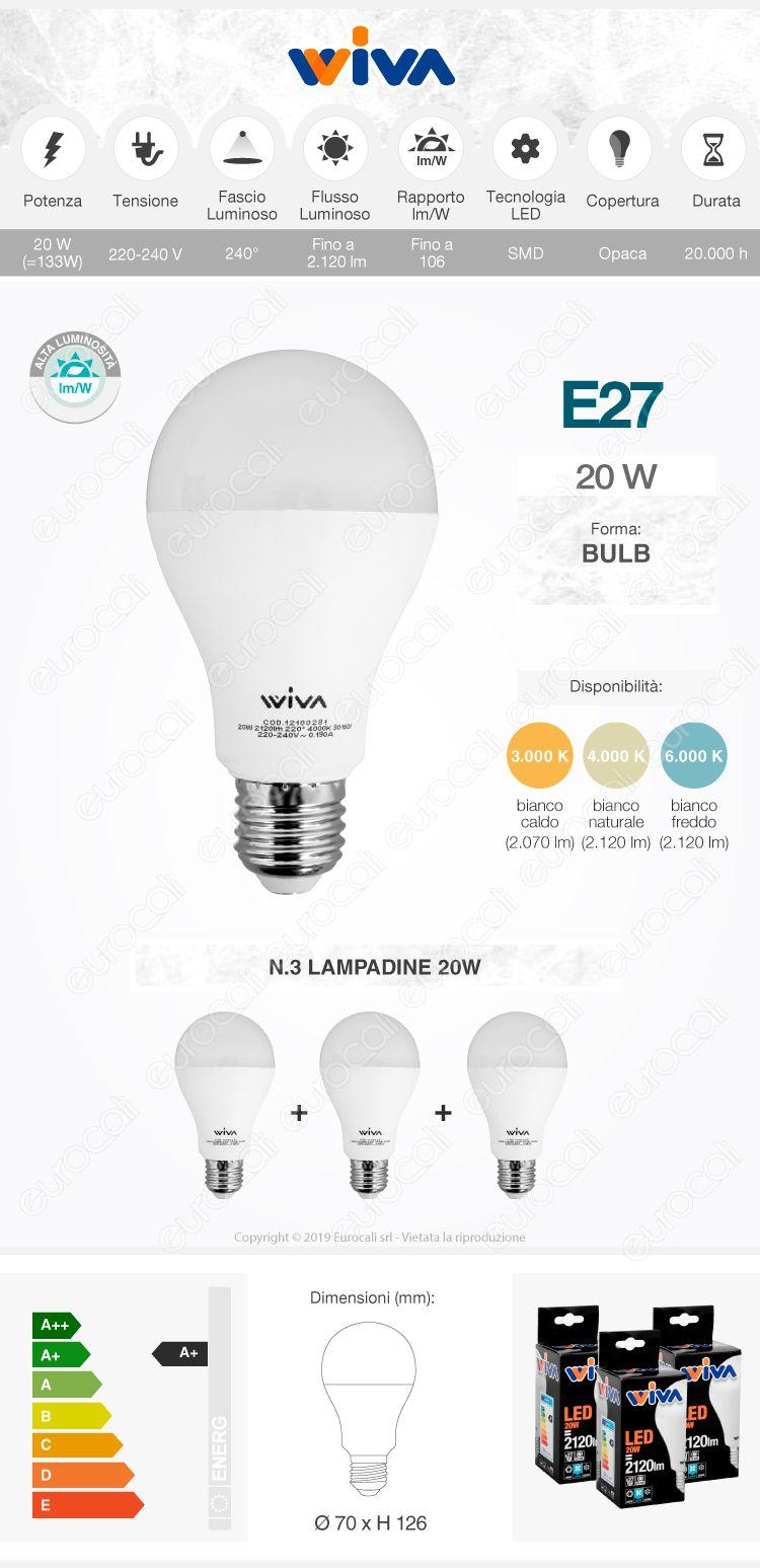 Wiva 3 Lampadine LED E27