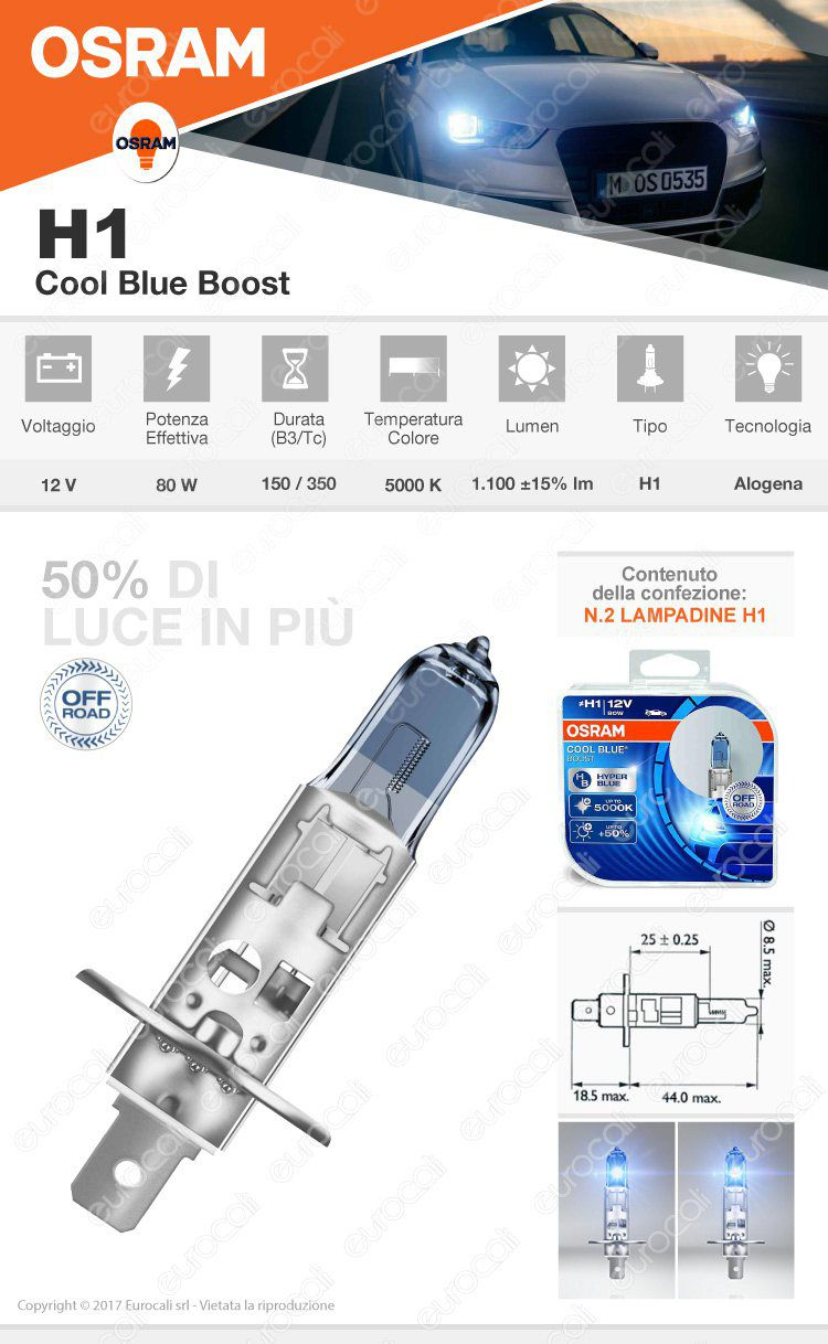 lampadina osram cool blue boost h1