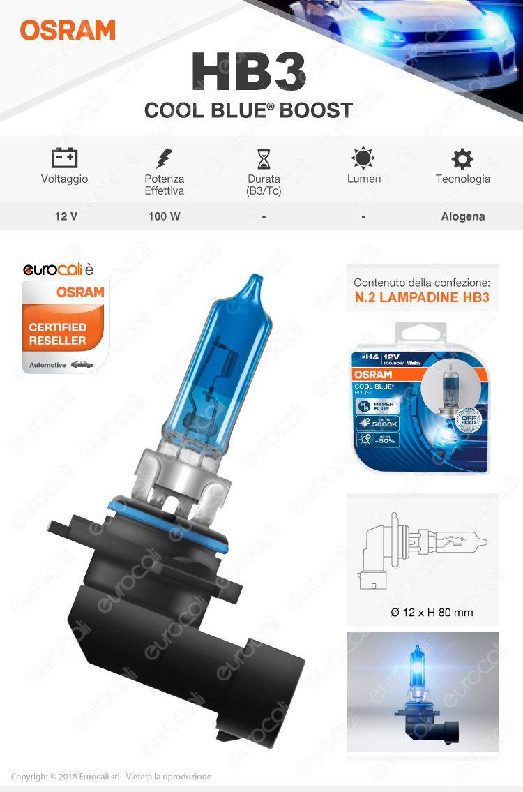 2 Lampadine HB3 Osram Cool Blue Boost Effetto Xenon 100W
