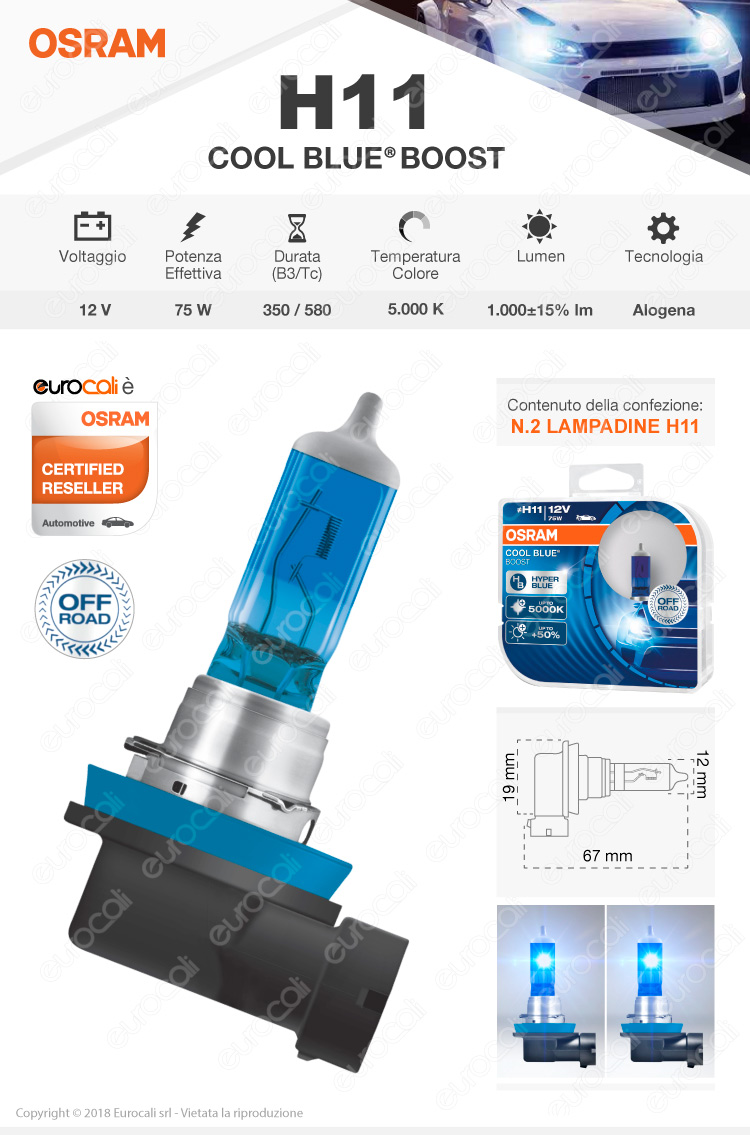 lampadina osram cool blue boost h11