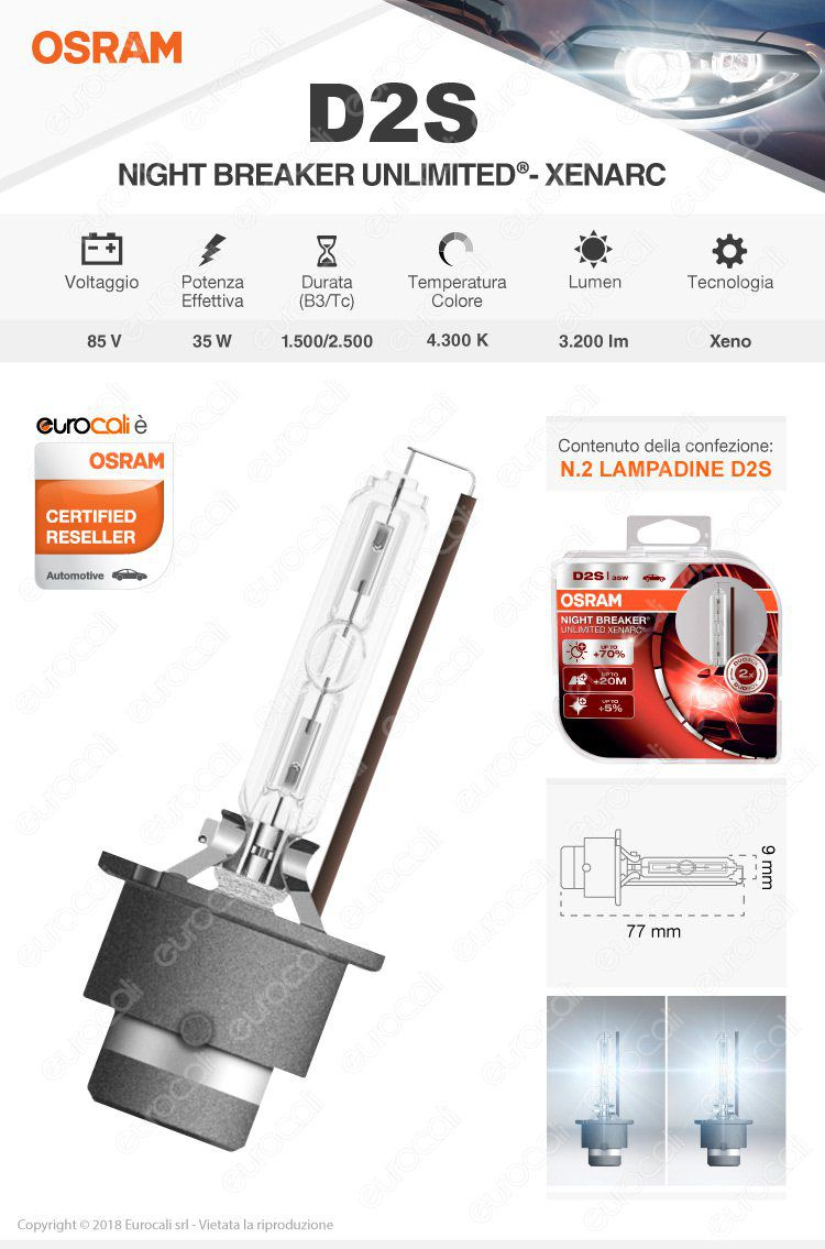 lampadina osram night breaker unlimited xenarc d2s