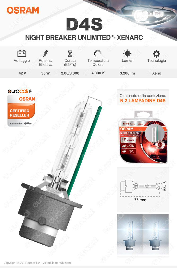 lampadina osram night breaker unlimited xenarc d4s