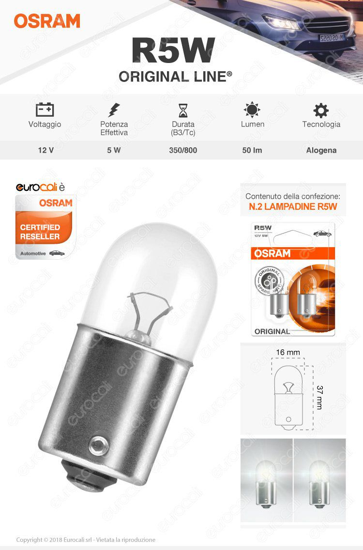 lampadina osram original r5w