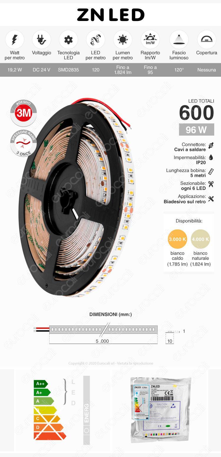 ZNLED Striscia LED 2835 Monocolore 120 LED/metro 24V - Bobina da 5 metri