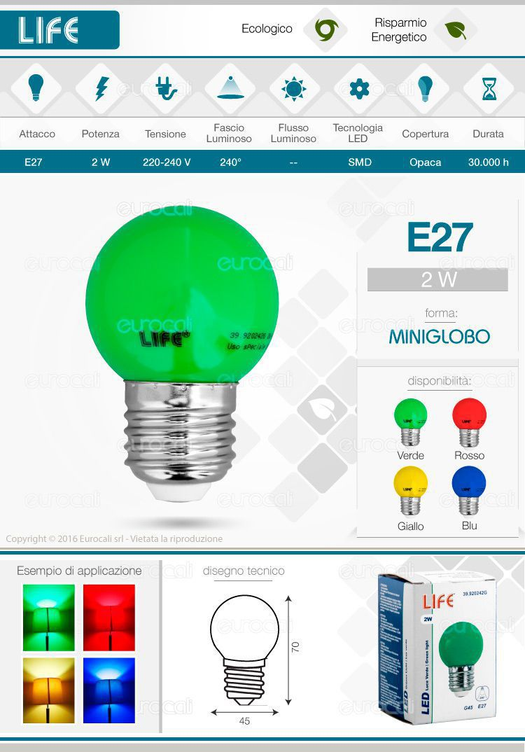 Life Lampadina LED E27 colorata