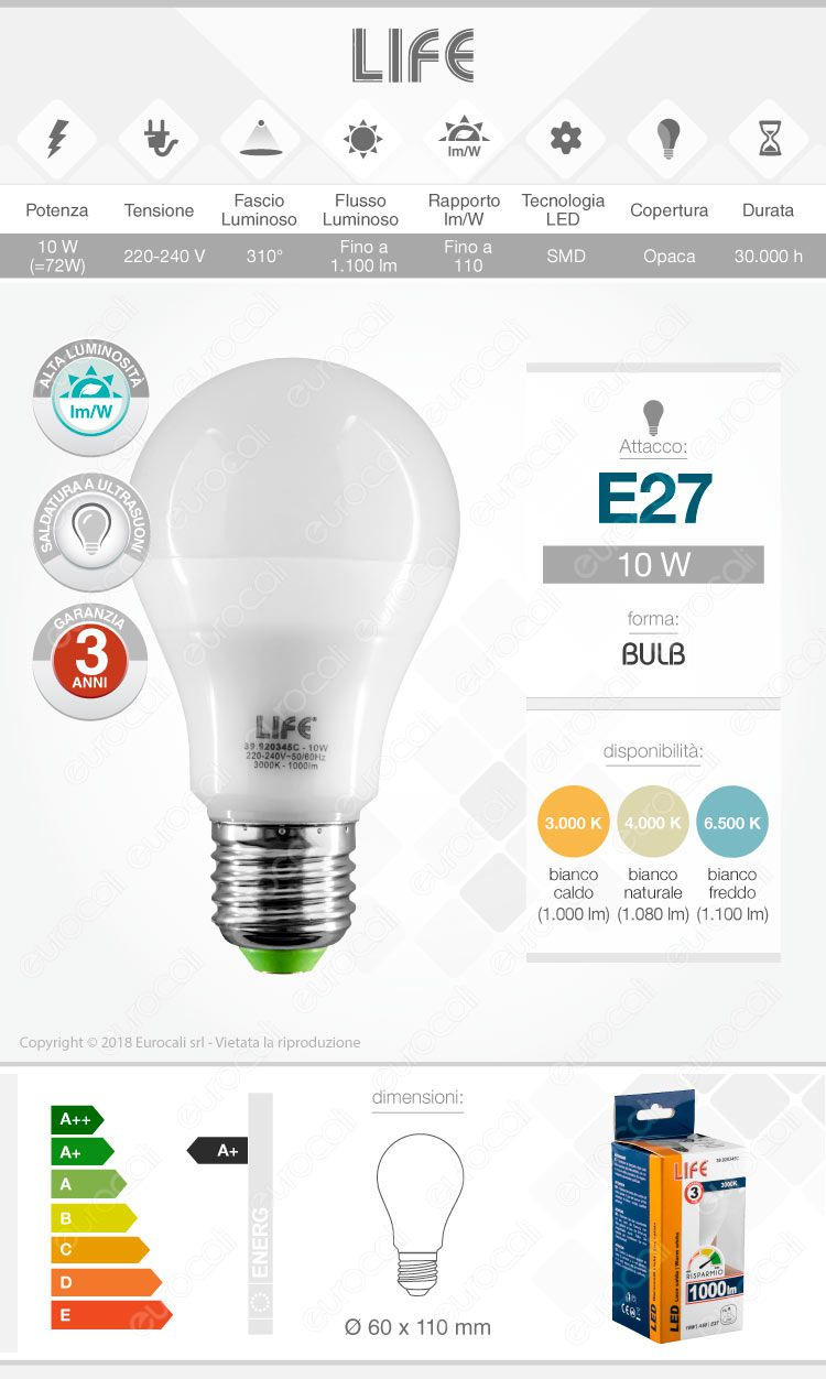 Lampadina led e27 12w bulb a60 life serie gf for Lampadina e27 led
