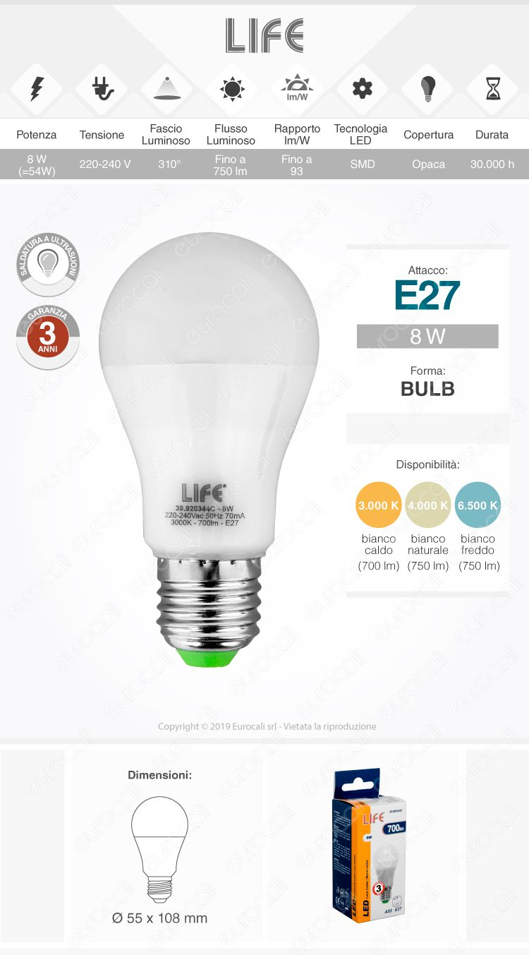 Lampadina led e27 8w bulb a55 life serie gf for Lampadina e27 led