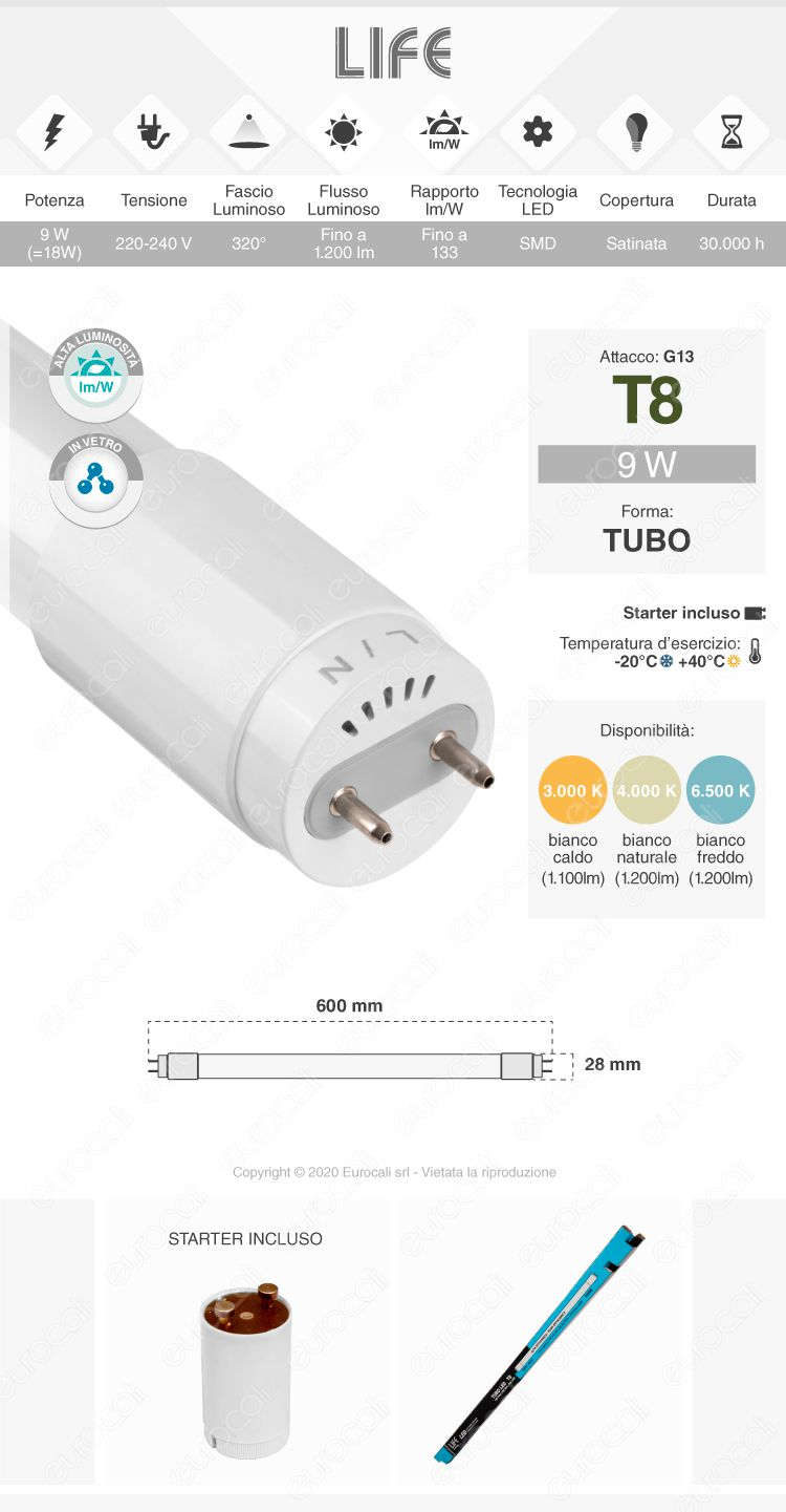 Tubo led t8 g13 life
