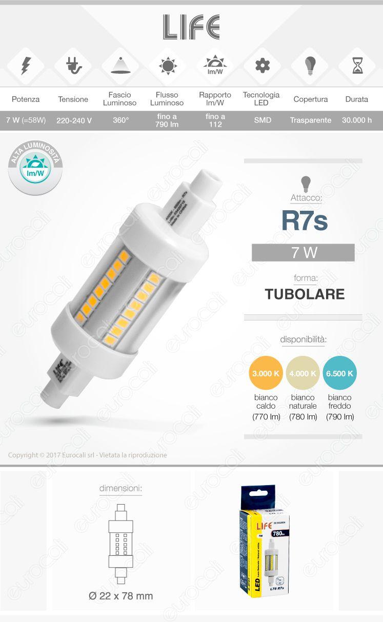 Lampadina tubulare r7s led life electronics