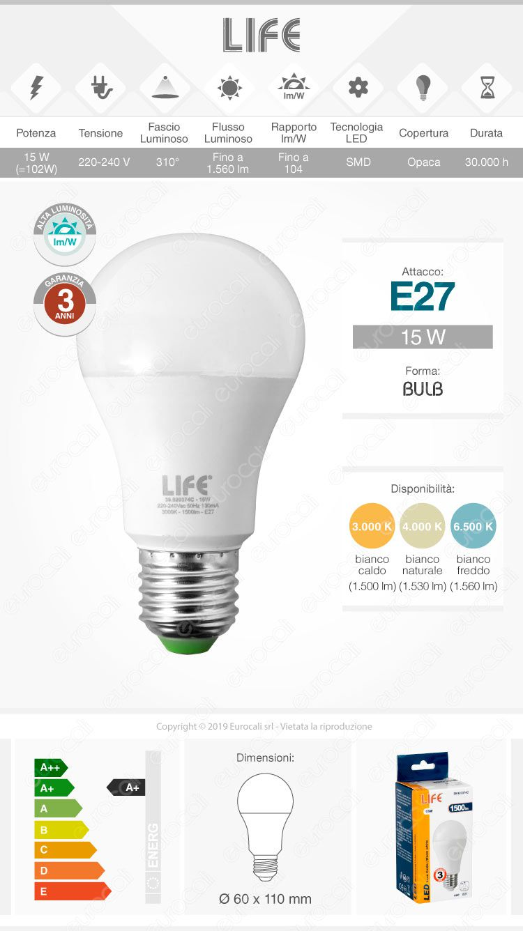Lampadina led e27 15w bulb a60 life serie gh for Lampadina e27 led
