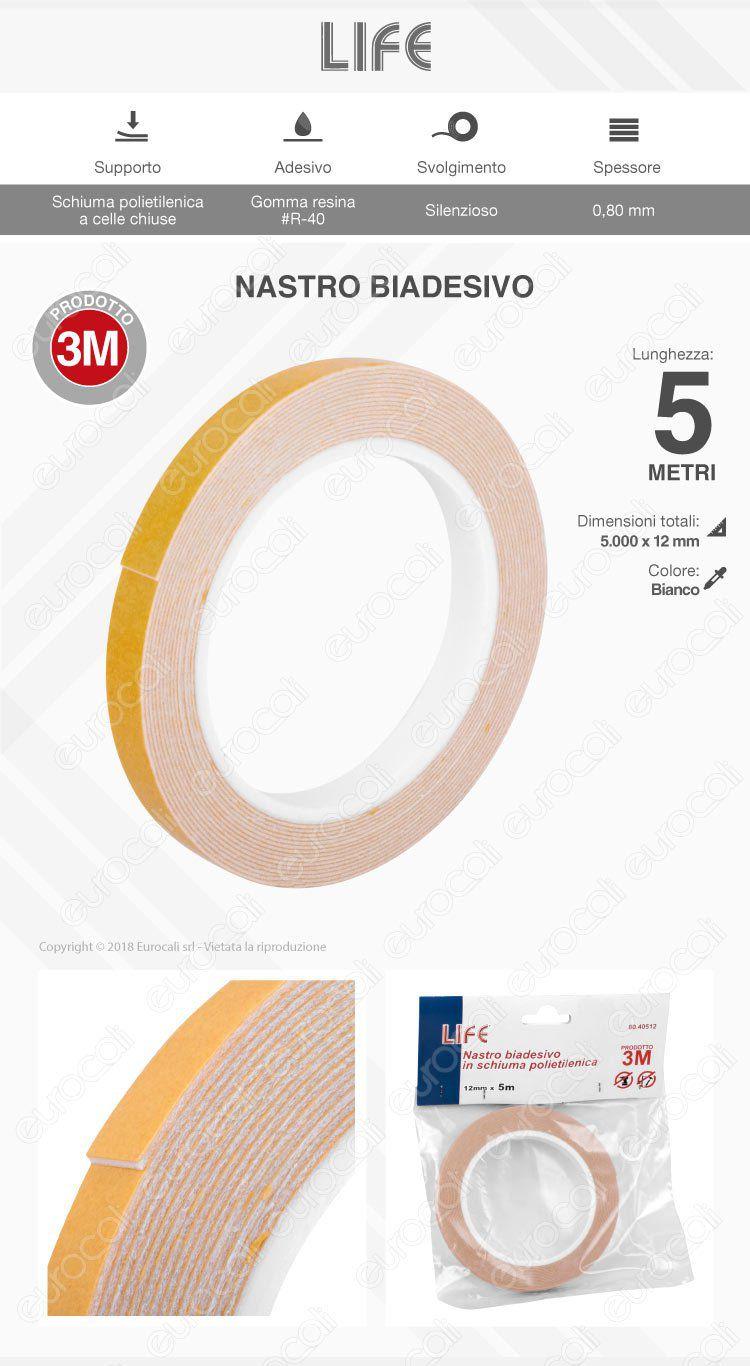 Life Nastro Biadesivo 3M in Schiuma Polietilenica Lunghezza 5 Metri - mod. 80.40512