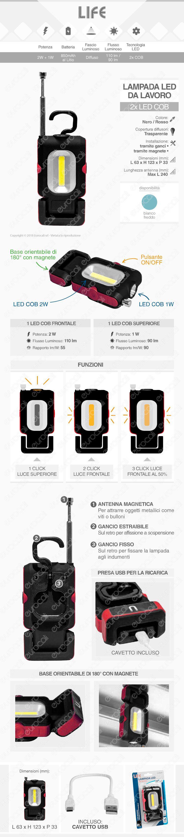 Life Lampada LED da Lavoro 3W Multifunzione