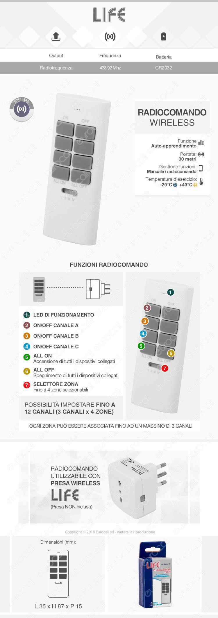 Life Radiocomando con 12 Canali Memorizzabili per Presa Wireless Bivalente