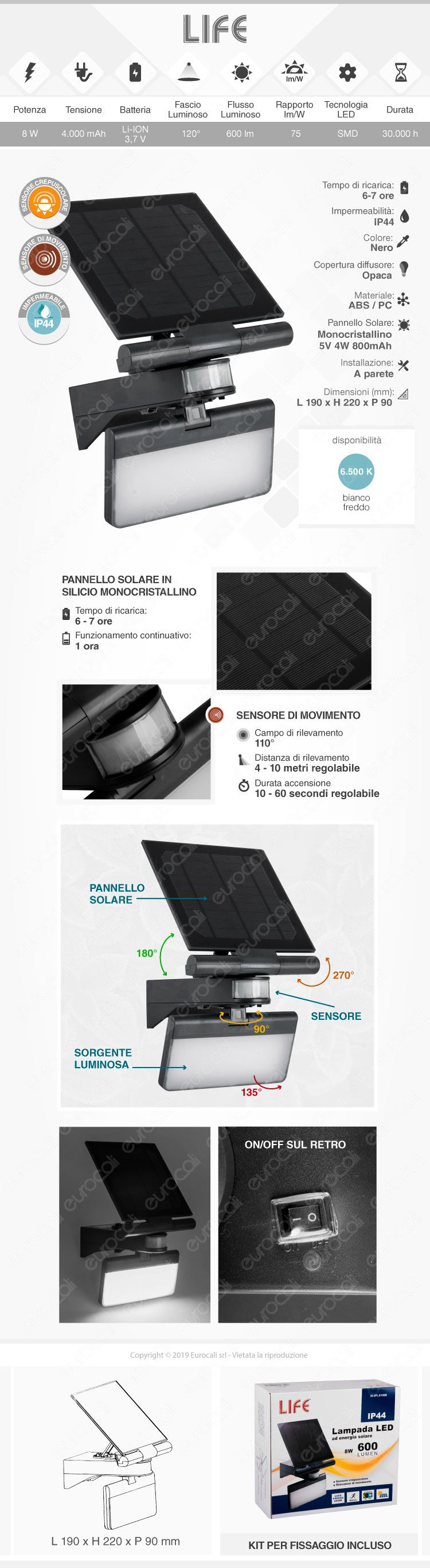 faretto LED velamp a carica solare
