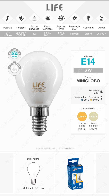 Life Lampadina LED E14 6W MiniGlobo P45 White Filamento