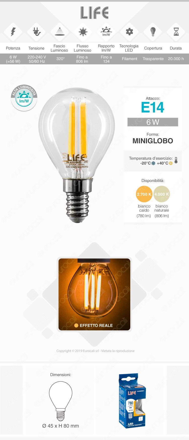 Life Lampadina LED E14 6W MiniGlobo P45 Filamento
