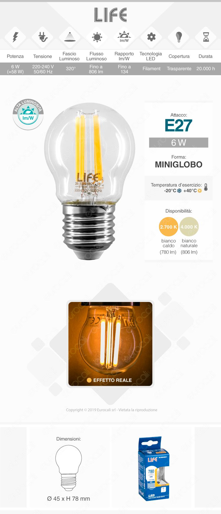 Life Lampadina LED E27 6W MiniGlobo G45 Filamento