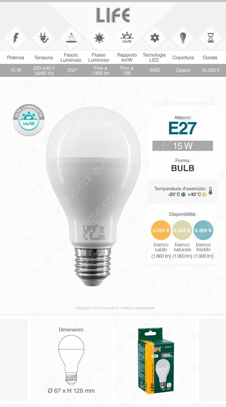 Life Lampadina LED E27 15W Bulb A67