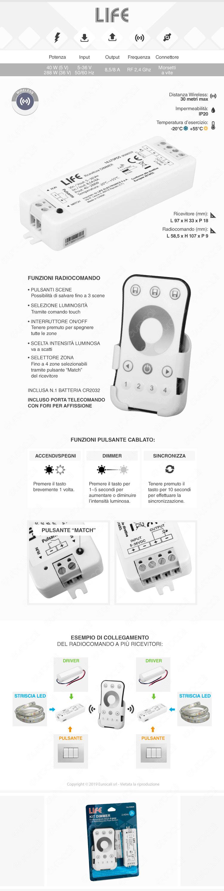 Life Kit Controller Dimmer a 4 Zone per Strisce LED con Telecomando e Connessione Pulsante Cablato