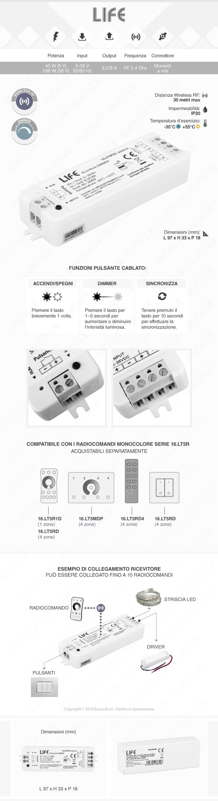Life Controller Dimmer a Zone Strisce LED Associabile a Telecomando e Connessione Pulsante Cablato