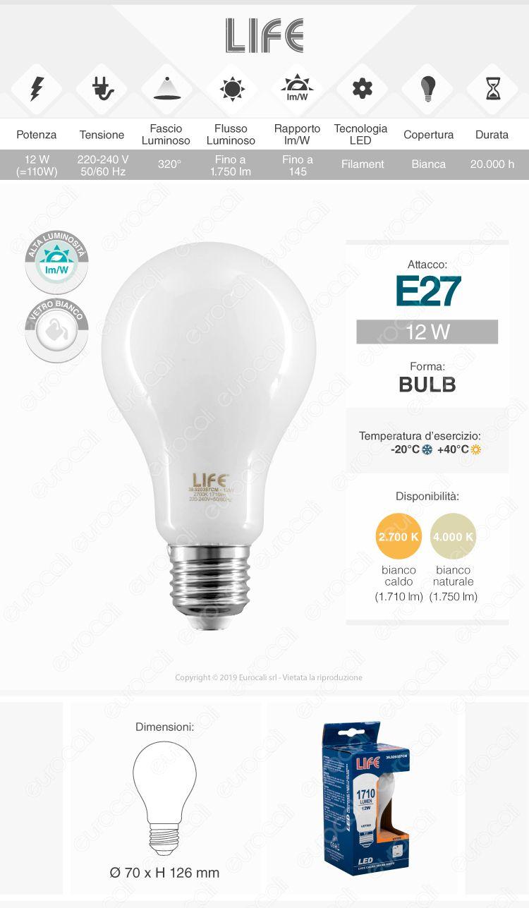 Lampadina LED filamento Life E27