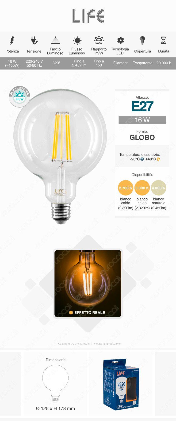 Lampadina LED Globo Life E27