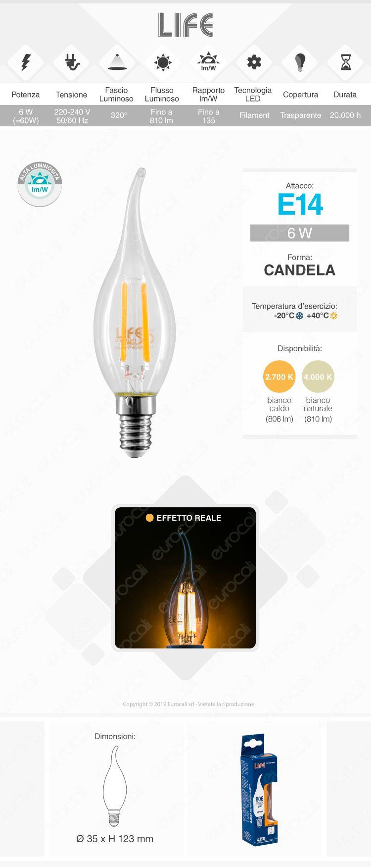 Lampadina LED filamento Life E14