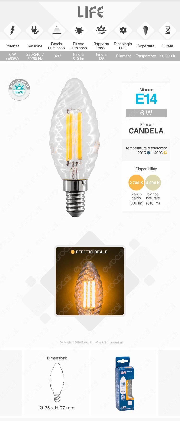 Lampadina LED filamento Life E14 Candela
