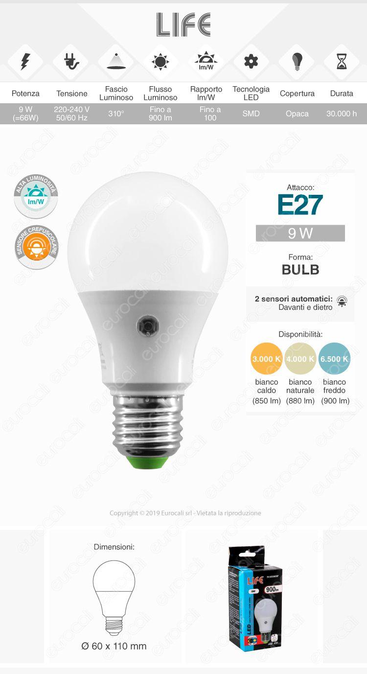 Life Lampadina LED E27 9W Bulb A60 con Sensore Crepuscolare