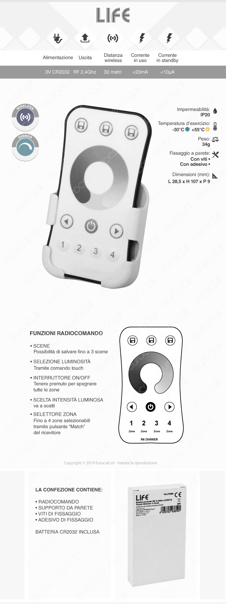 Life Radiocomando RF Touch Dimmer 4 Zone