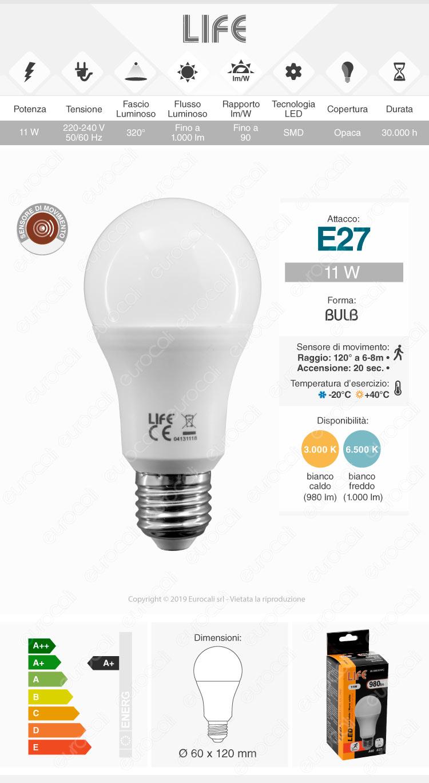 Life Lampadina LED E27 11W Bulb A60 con Sensore Movimento