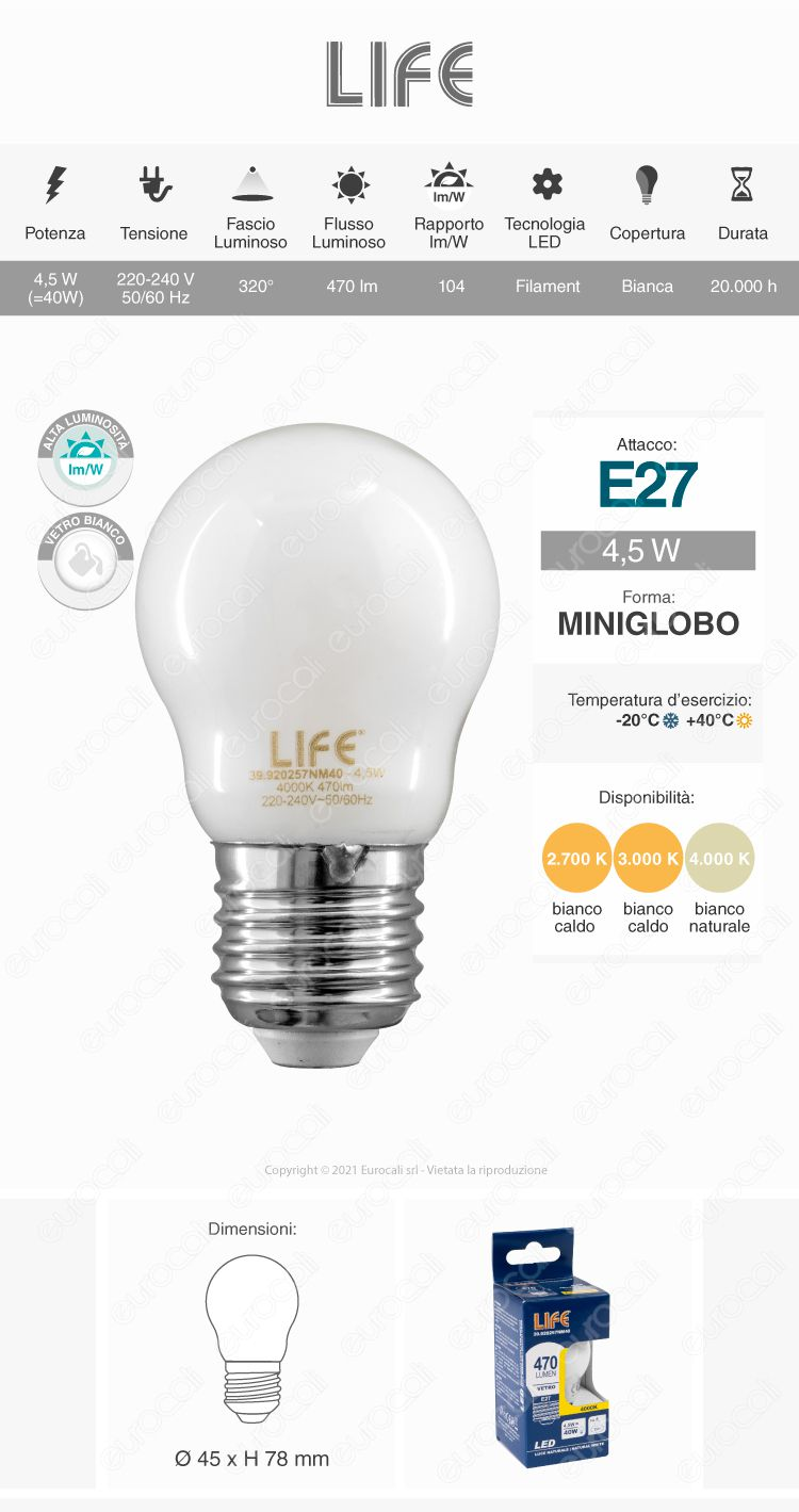 Lampadina LED Bulb Life E27 MINIGLOBO 4,5W