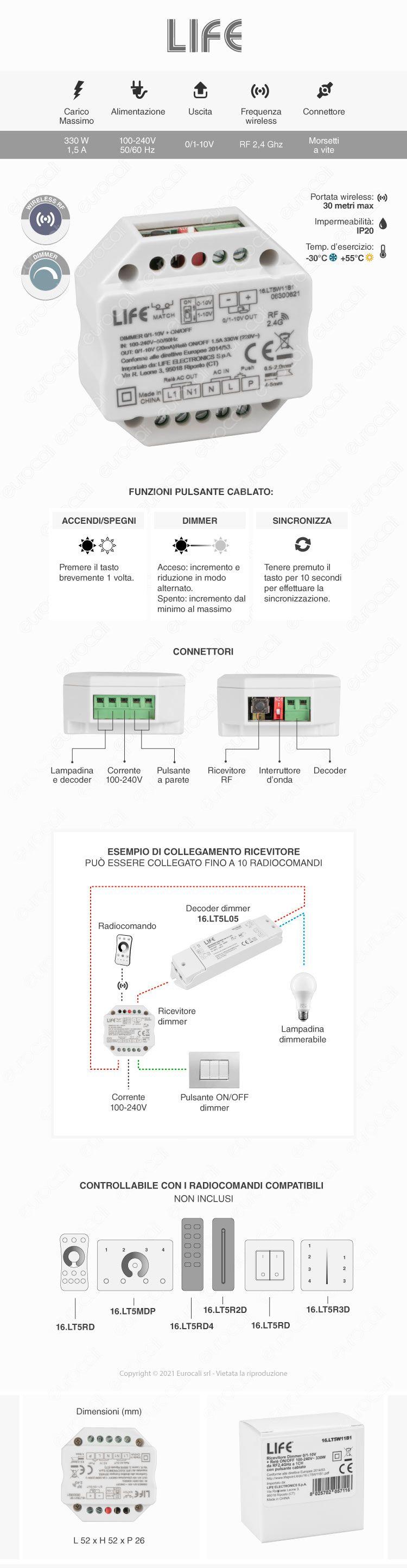 Life Controller Dimmer da Incasso a Zone per Lampade Dimmerabili Associabile a Telecomando e Pulsanti Cablati
