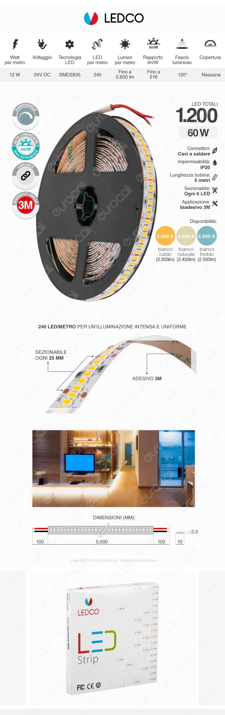 ZNLED Striscia LED 2835 Monocolore 120 LED/metro 24V - Bobina da 30 metri - mod. S411819210 / S411819220