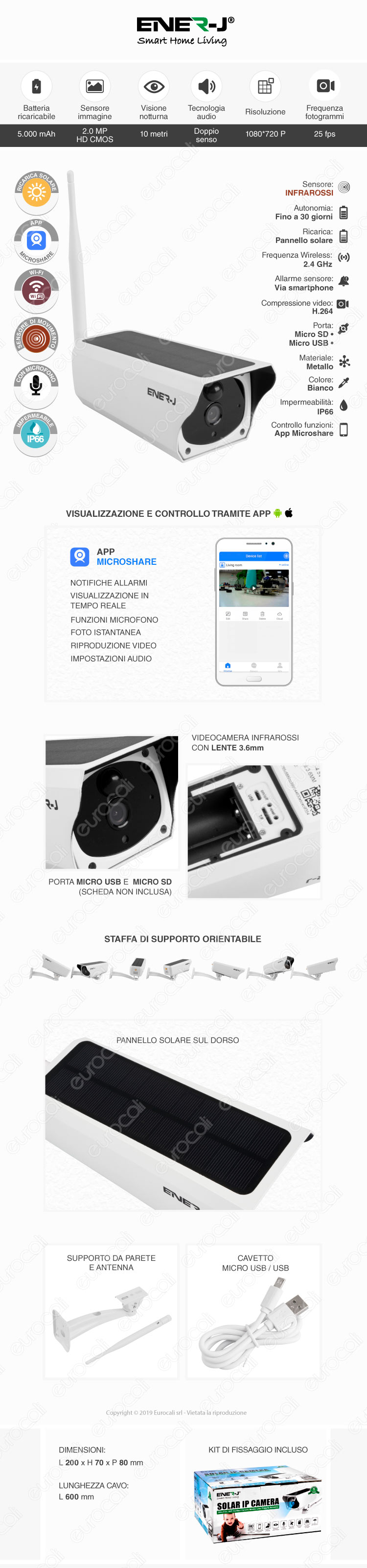 Ener-J Telecamera di Sorveglianza Wifi IP 720p