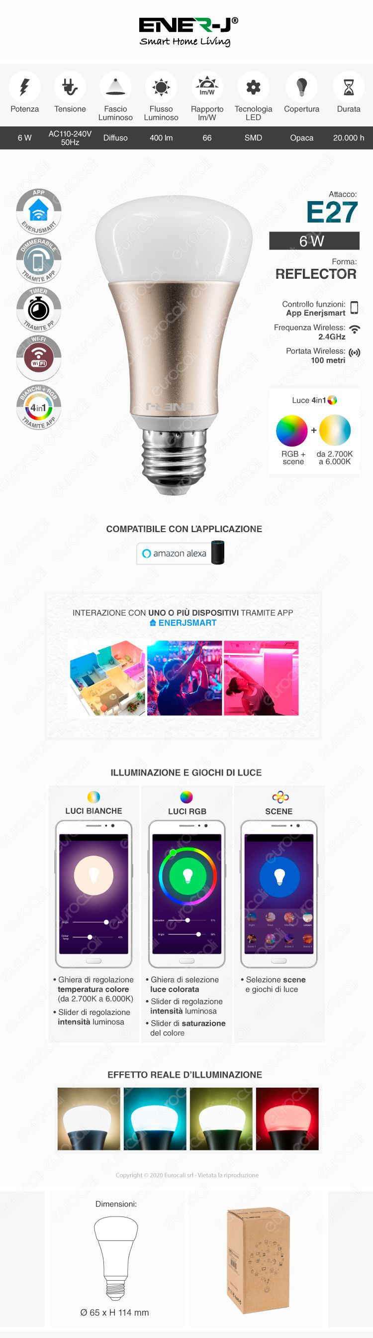 Ener-J Lampadina LED Wi-Fi E27 5W RGB+W Dimmerabile